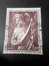 FRANCE 1970, timbre 1654, ART, SCULPTURE CATHEDRALE STRASBOURG oblitéré PAINTING