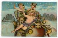 120920 VINTAGE NEW YEAR POSTCARD CHERUBS? IN AUTO TOAST CHAMPAGNE C1910 EMBOSSED