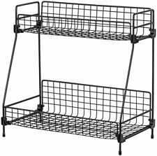 2Tier Bathroom Countertop Organizer Basket Storage Container Pantry Shelf Black