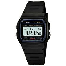 Casio Digital Wr F-91W-1YER Lighting Date Chronograph Silicone Rubber Black