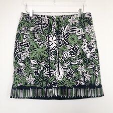 Ann Taylor Loft Womens Skirt Green Blue Floral Tie Waist Twill Khaki Pockets 12