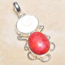 "Handmade Shiva Eye Shell Gemstone Pure 925 Sterling Silver Pendant 2.25"" #P03363"