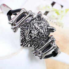 Black Silicone Retro Animal Lion's head Bracelet FREE SHIPPING SL0385