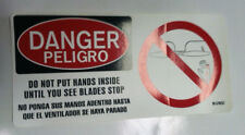 Safety Do not put hands inside until you see blade stop(Spanish) Decal Lot Of 5