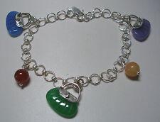 "Brand New Sterling Silver & Jasper Stones Handbag Charms 7.5"" Bracelet"