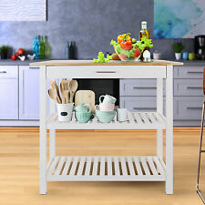 Casual Home Kitchen Island with Solid American Hardwood Top in White, 373-91 New