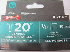 "Arrow Genuine T20 3/8"" Staples #206 Package of 1,000 staples   NEW"