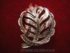 "Broche ""Feuille Automne"" Marcassite style Laurier Palme - Bijoux Vintage Sphinx"