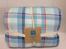 Pottery Barn Teen Newport Plaid Bed Quilt F/Q full queen cover bedspread blue