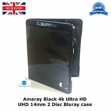 Genuino Amaray Negro 4k Ultra HD UHD 14mm 2 Disco Doble Blu Ray caso de reemplazo