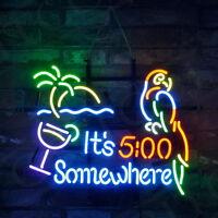 "It's 5:00 Somewhere Parrot Neon Sign Light Visual Artwork Beer Bar Decor19""x15"""