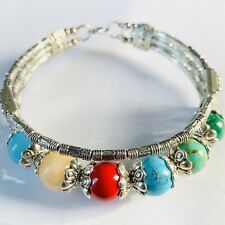 Tibetan silver bracelet multi colour agate beads silver spacers in FREE GIFT BOX
