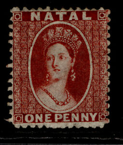 SOUTH AFRICA - Natal QV SG18, 1d lake, UNUSED. Cat £120. PERF 13