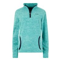 Weirdfish Ladies Womens Nancy 1/4 Zip Melange Fleece Sweatshirt Teal Blue