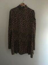 Boohoo Leopard Print High Neck Smock Dress Size 12 NWT