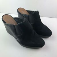 "Donald J Pliner Shoes Black Wedge Ingrid Sz 9 Calf Suede Mule Clog 4"" Heel I5"