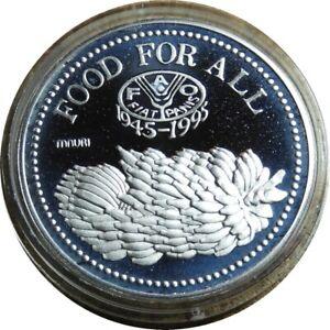 elf Uganda 5,000 Shillings 1995 Silver Proof FAO 50th Anniv