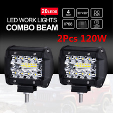 2x 4Inch Tri-Row LED Work Light Flood Spotlight Off-road Driving Fog Lamp Truck