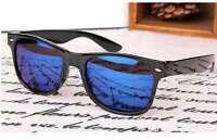 Wayfarer Sunglasses Vintage Mirror Lens Retro Black Frame Classic 80s Style Blue
