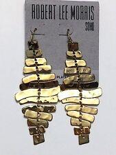Robert Lee Morris Soho Gold Plated Chandelier Sculpted Drop Earrings Zig Zag NWT