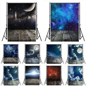 Starry Sky Moon Wood Floor Photography Backdrop Studio Prop Photo Background
