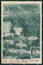 Trento Rovereto Mappa TRACCE UMIDO cartolina QT4261