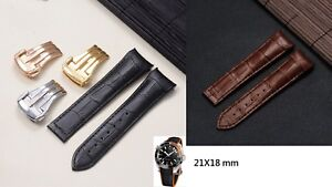 21mm curved end genuine leather strap band (FITS) OMEGA seamaster planet ocean