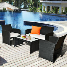 4PC Rattan Sofa Table Set Patio Outdoor Wicker Couch Furniture Kit w/ Cushion
