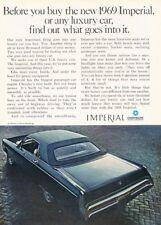 1969 Imperial LeBaron Chrysler 4d Original Advertisement Print Art Car Ad H76