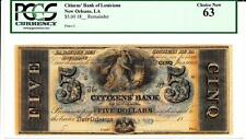 New Orleans, LA- Citizens' Bank of Louisiana $5 PCGS Choice New 63