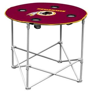 Washington Redskins Round Tailgate Table [NEW] NFL Portable Chair Fold Party