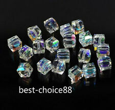 50pcs Faceted Suqare Crystal Glass Loose Spacer Beads For Jewelry Making 6mm