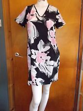 F+F S/Sleeved V-Neck Silky Floral Tunic Dress 6 Black Mix BNWT