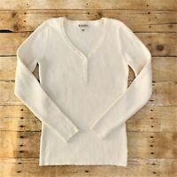 St John's Bay Women's Ivory Ribbed V Neck Sweater Size Medium NWT