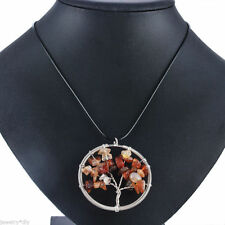 BEAUTIFUL AUTUMN LEAVES OF CARNELIAN & CITRINE TREE OF LIFE SILVER WIRE NECKLACE