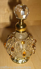 Old World-style Topaz Gold Frosted Glass Perfume Bottle