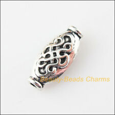 8Pcs Tibetan Silver Tone Oval Chinese Knot Spacer Beads Charms 7x15mm