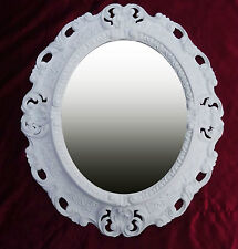 Wall Mirror White Oval 45 X 38 CM Baroque Antique Repro Vintage 345 12