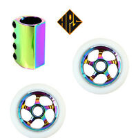STUNT SCOOTER SET 100mm NEO CHROME METAL CORE WHEELS ABEC 11 BEARING SCS CLAMP