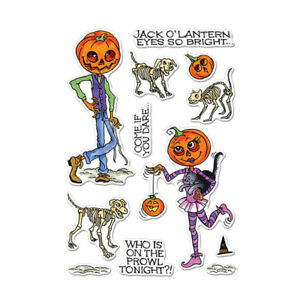 Halloween Mrs. Pumpkin Skeleton Dog Clear Stamps Diy Scrapbooking Embossing