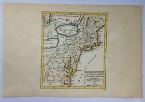 NEW ENGLAND MARYLAND VIRGINIA 1749 ROBERT DE VAUGONDY ANTIQUE MAP 18TH CENTURY