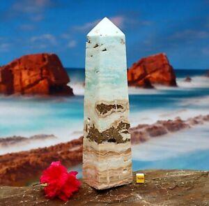 Large Caribbean Calcite / Blue Aragonite Polished Tower Point Obelisk 918g