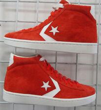 Men's Converse PL 76 Mid Sneakers, New Orange White Suede  Walking Shoes Sz 9.5
