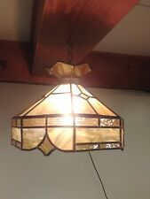 Stained Glass Light Fixture Ceiling Pendant Tiffany Style Yellow Orange Slag