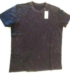 Black Cotton T-Shirt - Acid Washed - Large, Unisex, New with Tags, Freepost