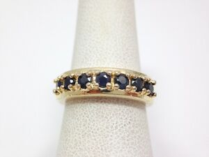 1/2 ct Blue Sapphire Cluster Band Ring Size 6 Yellow Gold over Sterling Silver