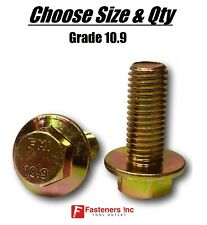(All Sizes & Qty's) Grade 10.9 Metric Flange Bolts Yellow Zinc Hardened
