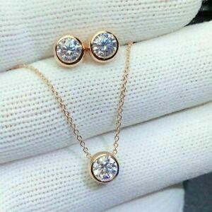 "3Ct Round Cut Diamond Earrings & Pendant W/18"" Jewelry Set 14k Yellow Gold Over"