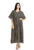 Black Cotton Casual New Printed Maxi Dress Wear Boho Indian Long Kaftan Maxi 4X
