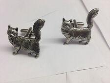Maine Coone Cat PP-C07 Fine English Pewter Cufflinks